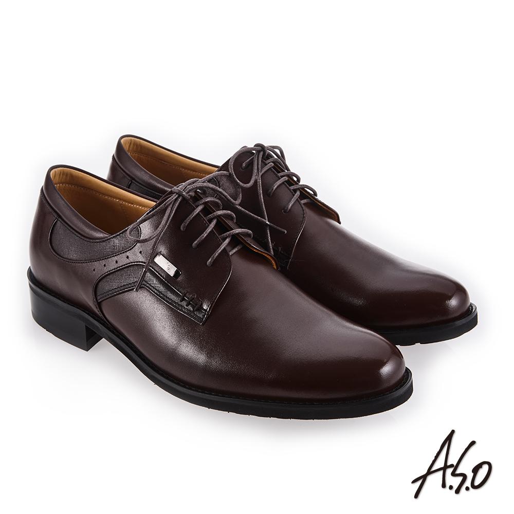 A.S.O 菁英通勤 舒適耐穿真皮鞋 咖啡