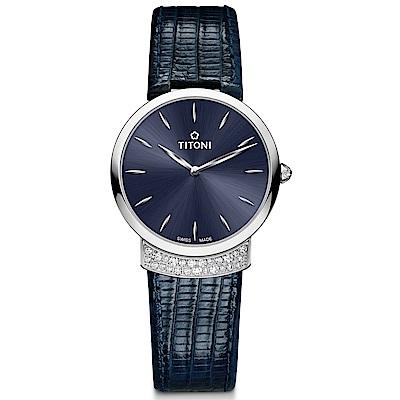 TITONI瑞士梅花錶 優雅伊人系列(TQ 42912 S-ST-591)摩登藍/32mm