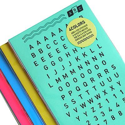 CBB ABC123字母數字貼紙組(4入)-02霓光版