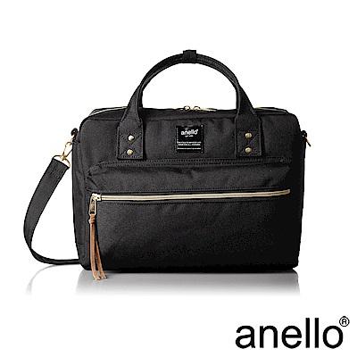 anello 獨特混色花紋手提斜背兩用包 黑色 L