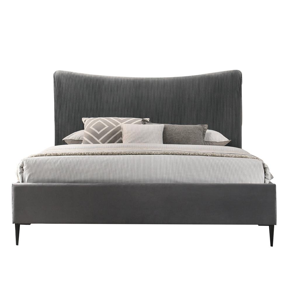 【AT HOME】現代簡約5尺灰布雙人床(不含床墊)-霍斯
