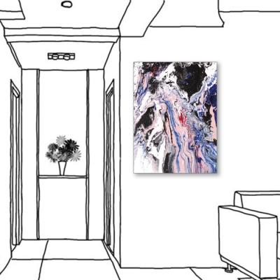 24mama掛畫-單聯式 對比色彩 藝術抽象 油畫風無框畫 60X80cm-游移