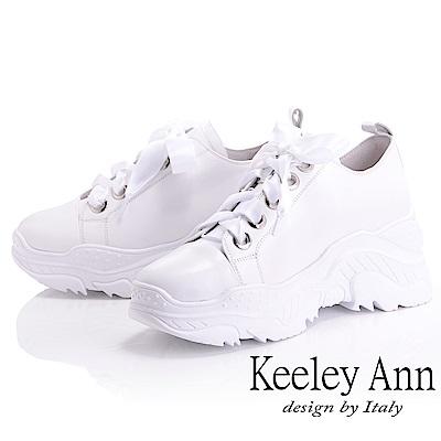 Keeley Ann 經典美型~緞面綁帶全真皮休閒鞋(白色-Ann)