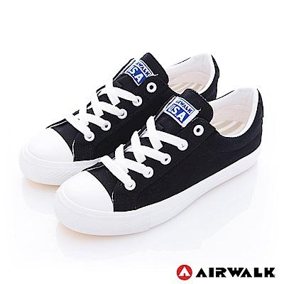 【AIRWALK】可愛圓頭青春百搭帆布鞋-黑色