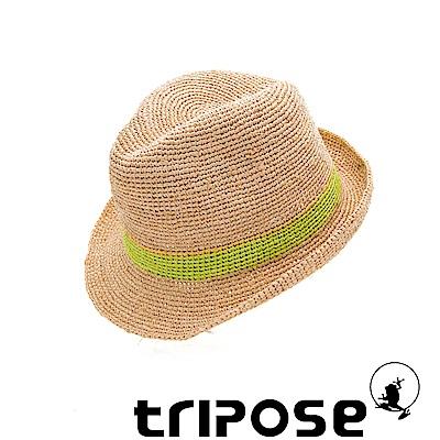 tripose 經典微旅-100%手工Raffia紳士遮陽草帽-雙色綠紋理