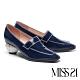 高跟鞋 MISS 21 幾何美學牛皮方頭樂福高跟鞋-藍 product thumbnail 1