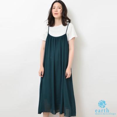 earth music 【SET TIEM】綁帶抓皺剪裁吊帶洋裝+基本款圓領上衣