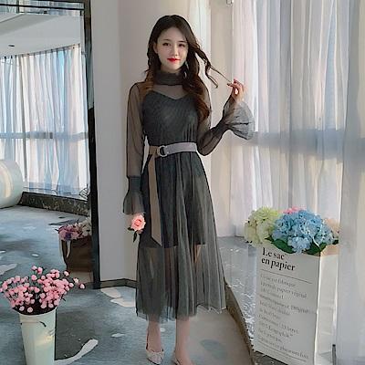 DABI 韓系顯瘦網紗吊帶連身裙配腰帶套裝長袖裙裝