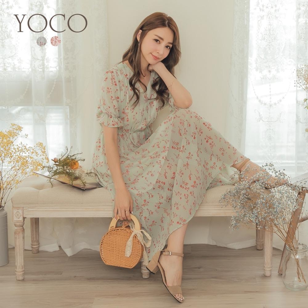 東京著衣-YOCO 甜美優雅V領碎花縮口袖腰鬆緊洋裝-S.M.L(共兩色)