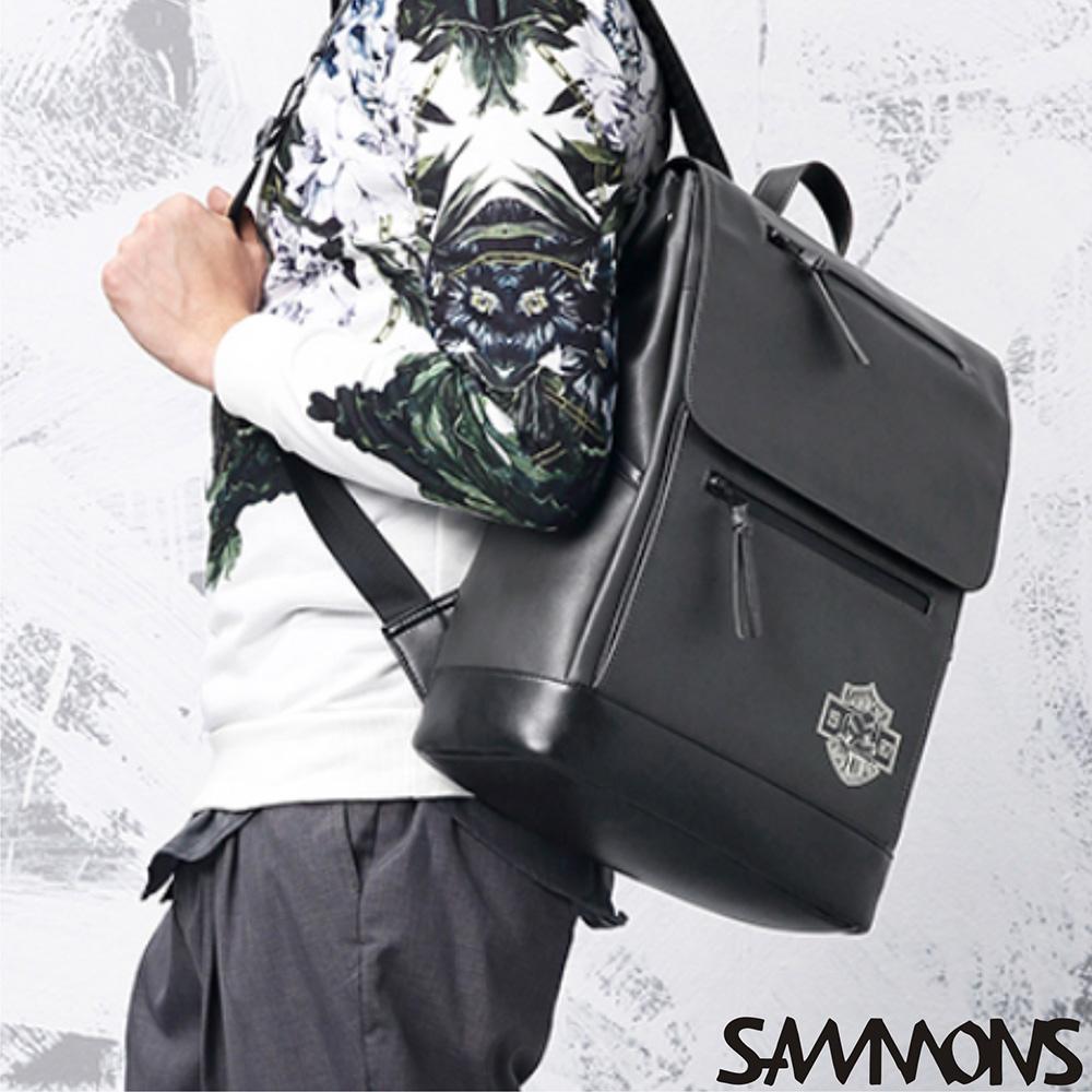 SAMMONS 真皮泰森撞色後背包 黑霧灰