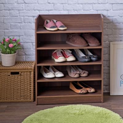 TZUMii艾拉開放式五層鞋櫃-胡桃木色60*30*80.1cm
