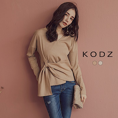 東京著衣-KODZ 歐美名模最愛坑條腰間綁帶設計上衣-S.M.L(共二色)