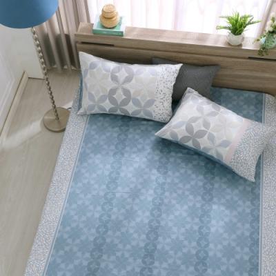 鴻宇 100%精梳棉 朱利安 藍 雙人特大床包枕套三件組