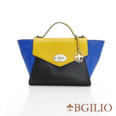 義大利BGilio十字紋牛皮知性時尚手提包-大款-黃黑藍色(1951.003-13)