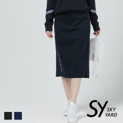 【SKY YARD 天空花園】網布拼接修身鉛筆及膝裙-深藍