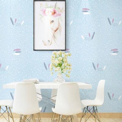 半島良品 防水PVC自黏牆紙45x200cm-藍底羽毛