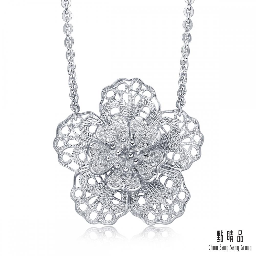 點睛品 Lace 鉑金蕾絲立體花朵造型項鍊