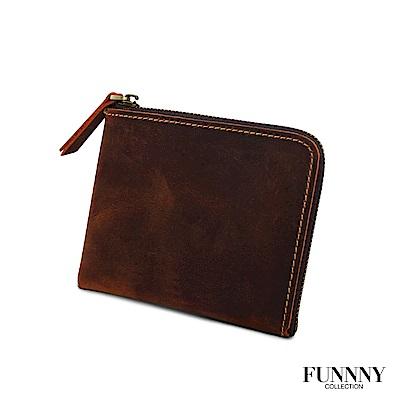 FUNNNY 真皮實用L型 零錢/卡片 收納包 中居 柊 紅棕 (快)