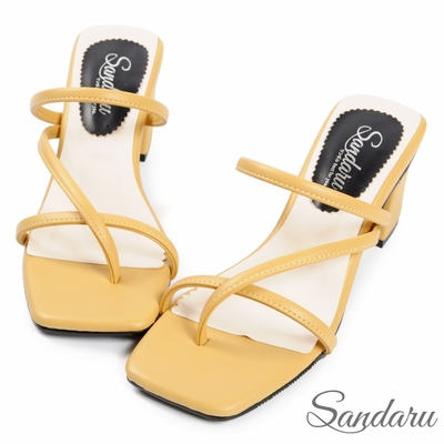 山打努SANDARU-涼鞋 MIT細帶夾腳中跟拖鞋-黃