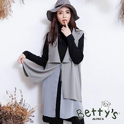 betty's貝蒂思 雪紡拼接無袖針織罩衫(灰色)