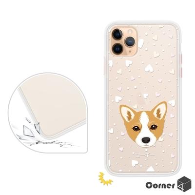 Corner4 iPhone 11 Pro Max 6.5吋柔滑觸感軍規防摔手機殼-柯基(白殼)