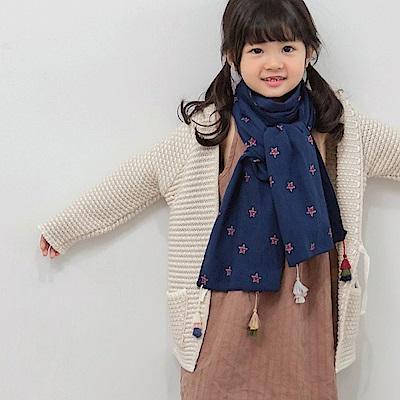 五角星星流蘇棉麻圍巾-OB大尺碼