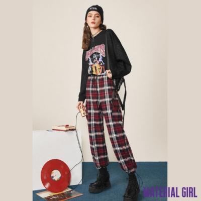 MATERIAL GIRL 拼接格紋休閒縮口褲【20冬季款】-522B8