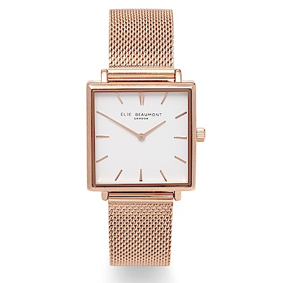 Elie Beaumont 英國時尚手錶 BAYSWATER系列 白x玫瑰金米蘭錶28mm