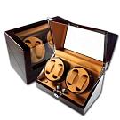 機械錶自動上鍊收藏盒 2旋4入錶座轉動 LED燈 鋼琴烤漆 - 黃棕x木紋紅褐