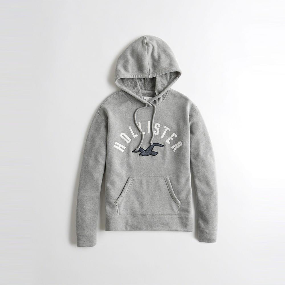 HCO Hollister 海鷗 經典刺繡大海鷗文字連帽T恤(女)-灰色