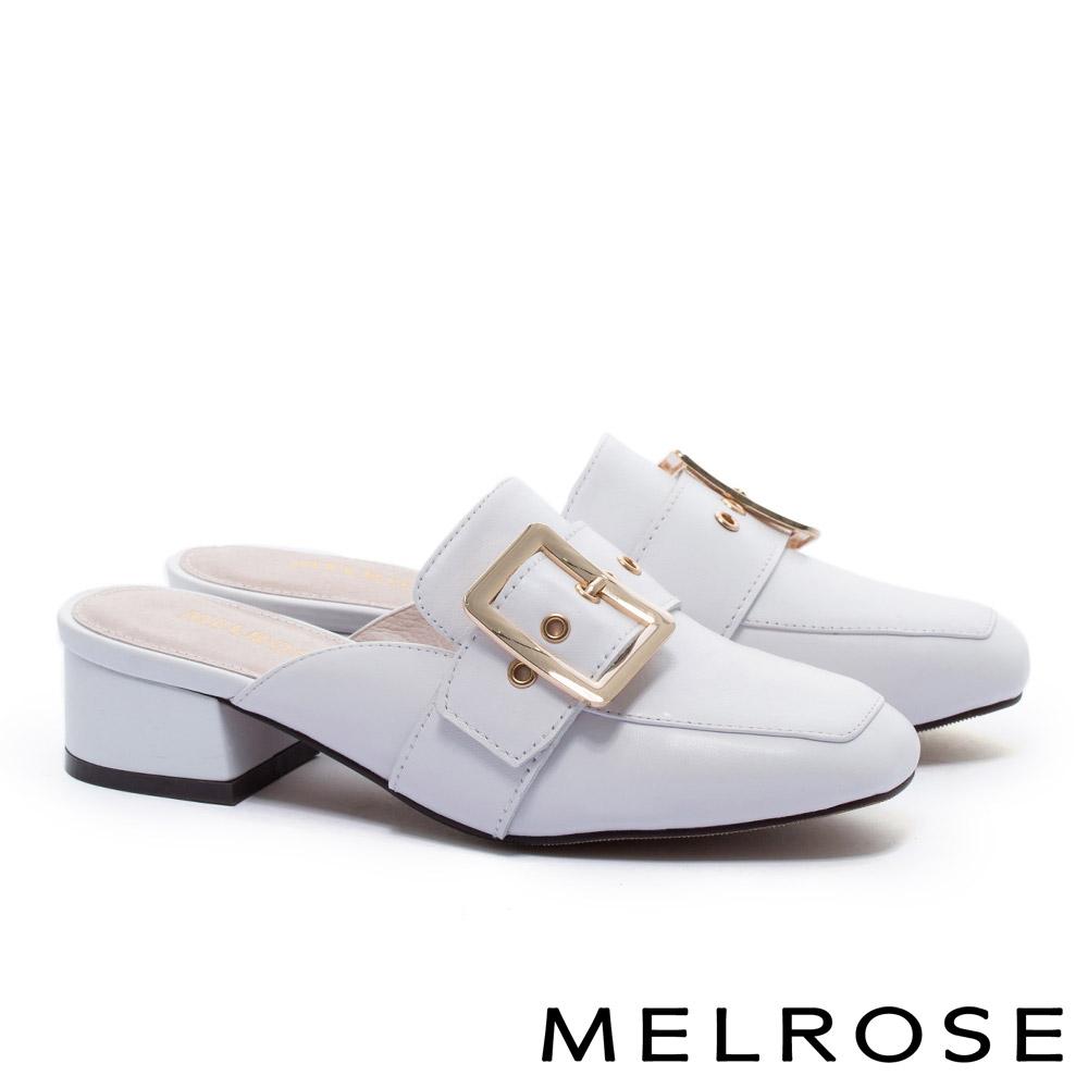 拖鞋 MELROSE 簡約時尚知性金屬大方飾釦繫帶粗低跟穆勒拖鞋-白