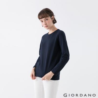GIORDANO  女裝素色圓領長袖T恤 - 15 標誌藍