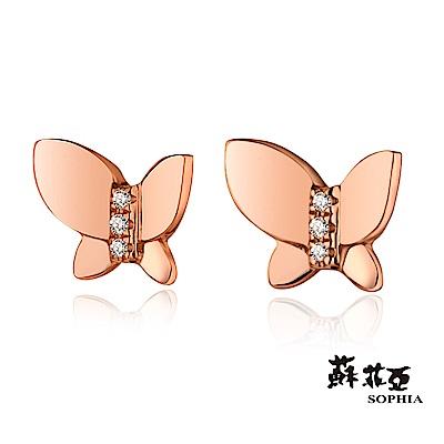 蘇菲亞SOPHIA-蝶戀玫瑰金鑽石耳環