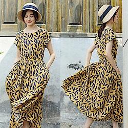 洋裝-文藝印花寬鬆長裙子短袖棉麻/設計所在 Q8475