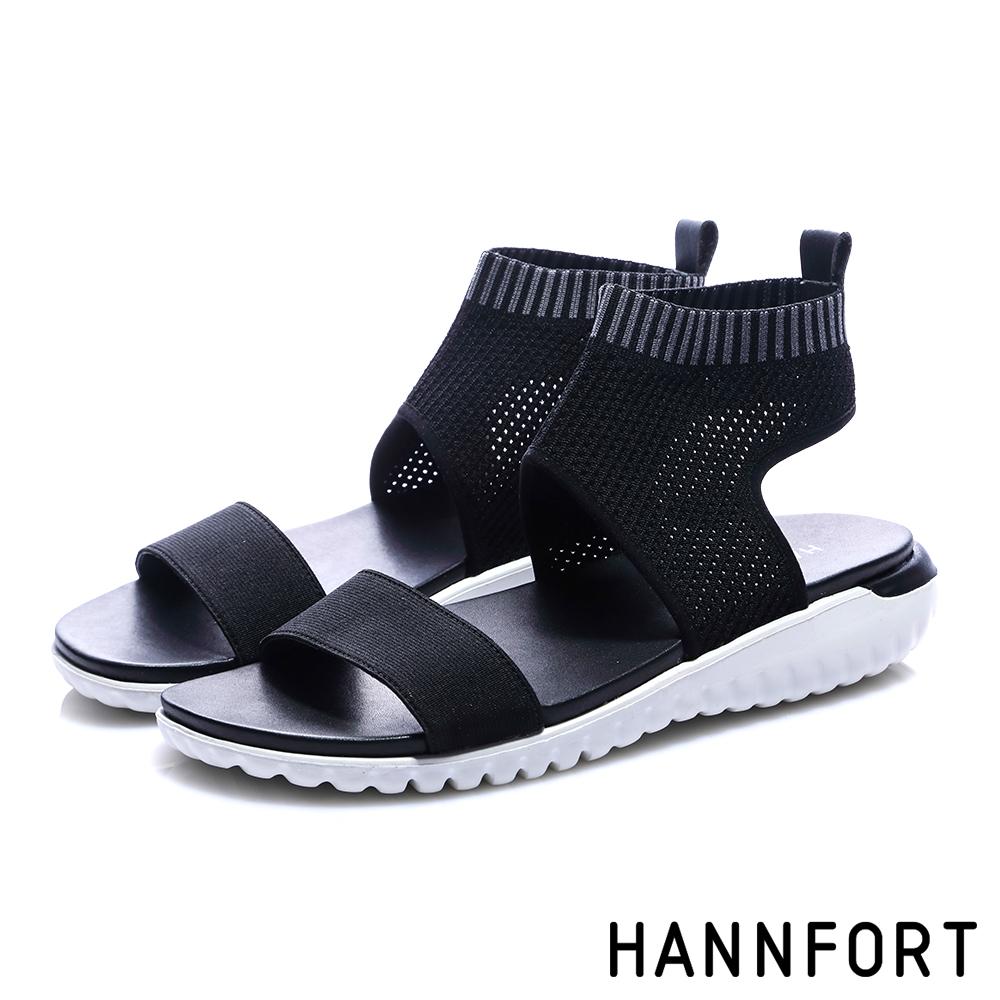 HANNFORT Ultra Flex 3D 針織襪套式運動休閒涼鞋-女-黑