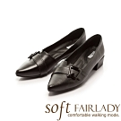 Fair Lady Soft芯太軟 飾釦拼接剪裁尖頭低跟鞋 黑