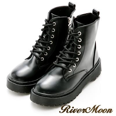 River&Moon馬丁靴-個性繫帶拉鍊厚底靴-黑