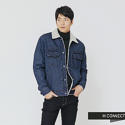 H:CONNECT 韓國品牌 男裝-刷毛翻領牛仔外套-藍