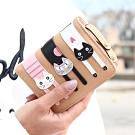 iSPurple 探頭貓咪 皮革拉鍊零錢短夾 卡其