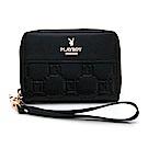 PLAYBOY- 零錢包附手挽帶  魅力方格兔系列 -黑色