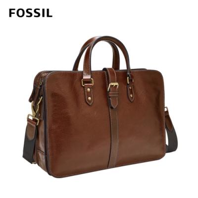 【FOSSIL】Greenville 真皮釦帶商務公事包-酒棕色 MBG9536212
