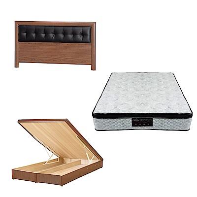 綠活居 亞多6尺雙人加大床台三式組合(床頭片+後掀床底+正三線涼感獨立筒)五色可選