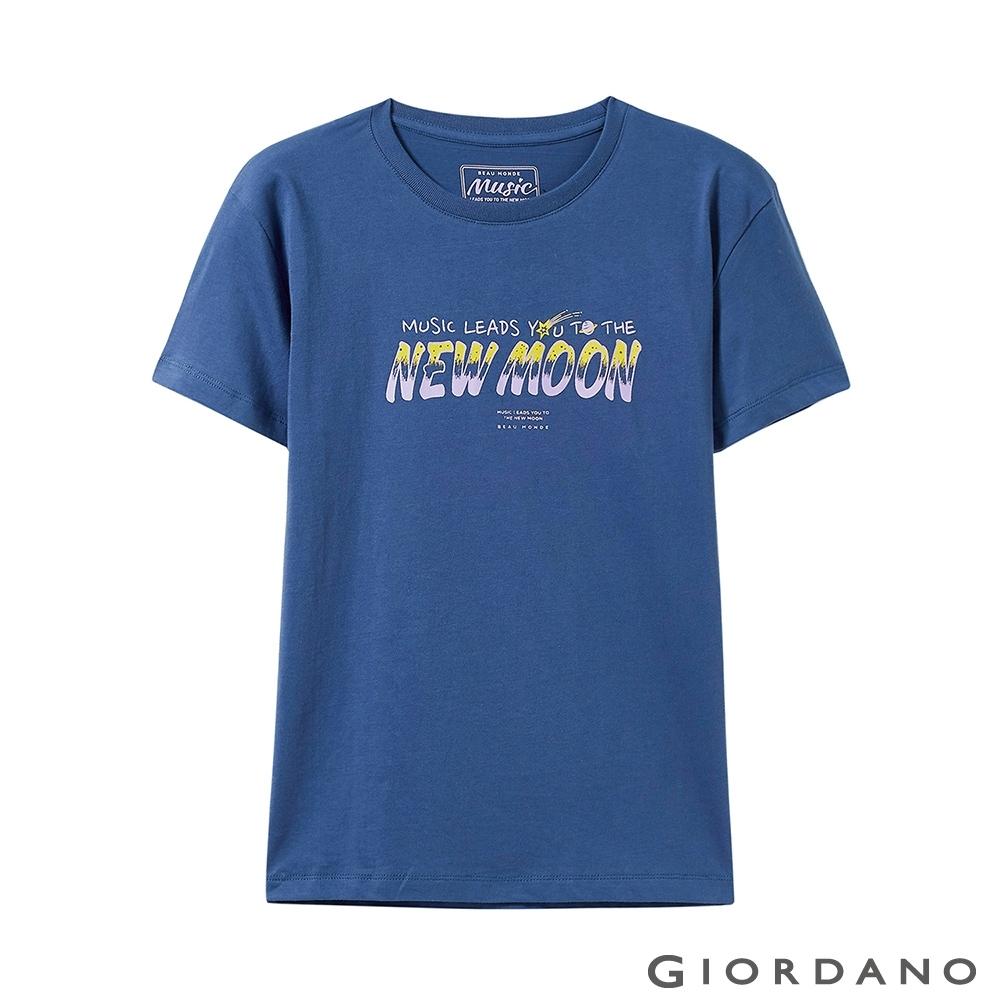 GIORDANO 女裝MUSIC系列印花短袖T恤-61 深寶藍