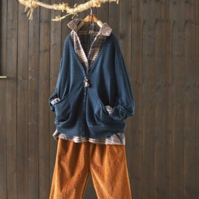 韓版V領針織衫寬鬆洋氣外穿薄版長袖開衫外套-設計所在