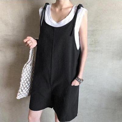 【KISSDIAMOND】舒適百搭棉麻吊帶短褲(KDP-9080)
