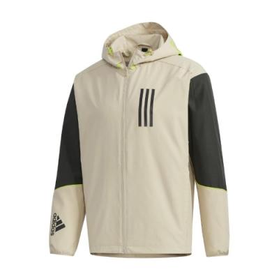 adidas 外套 W.N.D. Jacket 連帽 男款 愛迪達 風衣外套 防風 穿搭 輕量 黃褐 黑 GF4014