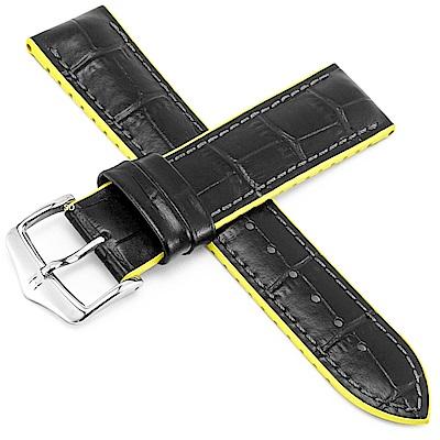 海奕施 HIRSCH AndyL 橡膠複合式小牛皮錶帶-黃