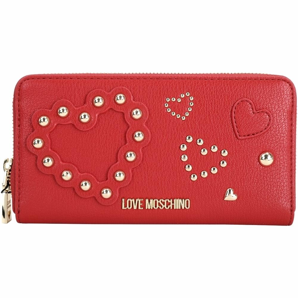 LOVE MOSCHINO 心型鉚釘皮革拉鍊長夾(紅色)