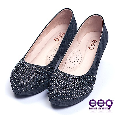 ee9 名媛專屬簡約鑲嵌閃耀晶鑽素面跟鞋 黑色