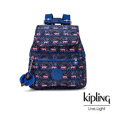 Kipling 粉色猴子叢林印花後背包-NEW ELLA